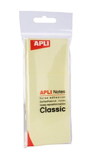 APLI 11696 - Notas adhesivas CLASSIC 40 x 50 mm 3 blocs de 100 hojas color amarillo