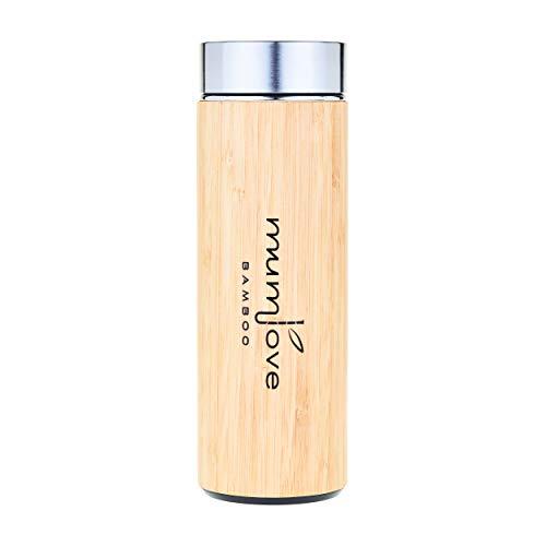 Mum Love Bamboo Botella de Acero Inoxidable de bambú con Filtro para infusiones