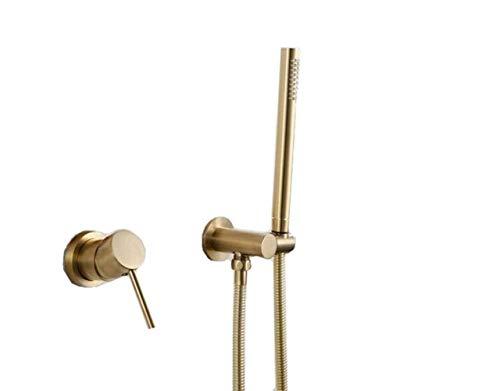Best Price! Gulakey Handheld Shower Head Kit Wall Mounted Brushed Gold Modern Handheld Shower Set Ba...