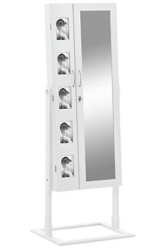 CLP Schmuckschrank Bonita I Standspiegel Mit Bilderrahmen Integriert I Viele Steckplätze + Haken Für Schmuck & Accessoires Weiß