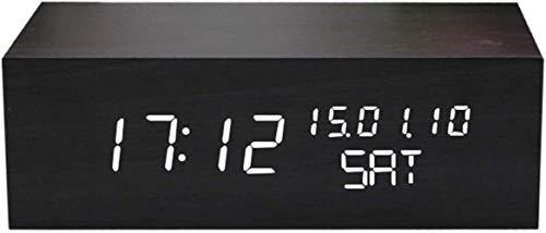 MingXinJia Relojes de Cabecera para el Hogar Reloj Despertador de Madera Led, Relojes Silenciosos Electrónicos de Cabecera Multifuncionales, Control de Voz, Visualización de Hora/Fecha/Temperatur