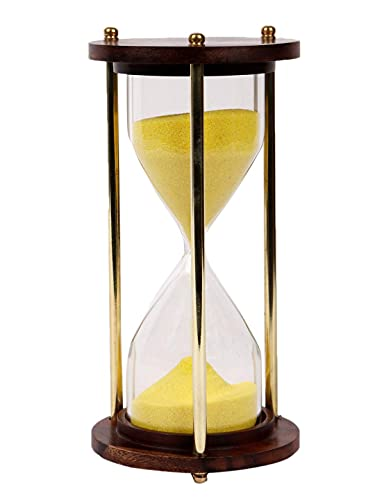 Nikita International Wooden Brass 5 min Hourglass/ Sand Timer for Home , Kitchen Office as an Decorative Item and for Gifting Purpose