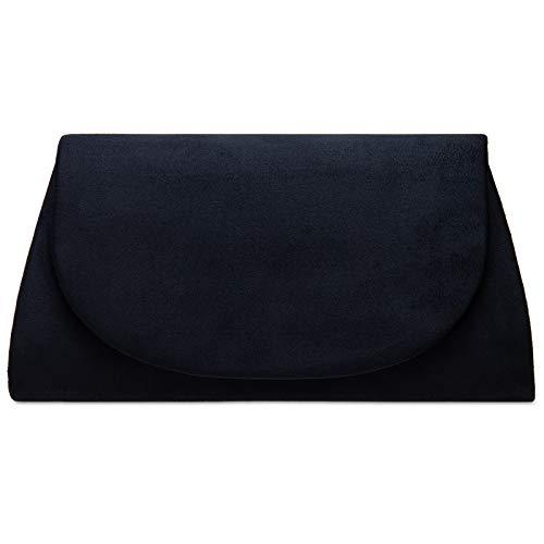 Caspar TA525 Bolso de Mano Fiesta para Mujer Clutch de Tejido Velour, Color:azul oscuro, Talla:Talla Única
