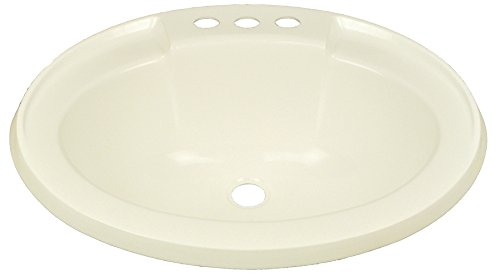 """17"""" x 20"""" Bone Oval Lavatory Sink for Mobile Homes Includes Drain"""