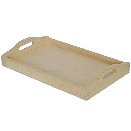 Creative Deco Klein Serviertablett Tablett Holz mit Griff | 30 x 20 x 6,3 cm | Unbehandelt Holztablett Perfekt zum Servieren, Dekorieren, Küche und Frühstück