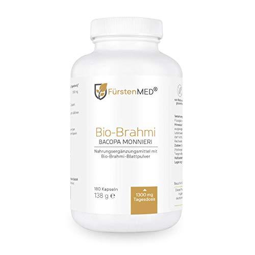 FürstenMED® 180 Bio Brahmi Kapseln Hochdosiert - 650 mg je Kapsel (1300mg je Tagesdosis) - Hergestellt & Kontrolliert in Deutschland (DE-ÖKO-007) - Laborgeprüft & Ohne Zusatzstoffe