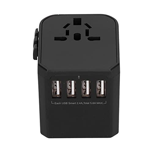 Adaptador de Corriente Universal, Cargador de Pared Internacional 3.0A de Carga rápida portátil y Compacto con 4 Puertos USB Puerto Tipo C para JP AU CN para Reino Unido UE EE. UU.(Negro, Transl)