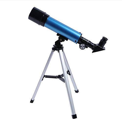Teleskop für Kinder 90X HD Refraktor Einsteiger Teleskop mit Verstellbarem Stativ für Erwachsene und Einsteiger Amateur-Astronomen (Blau)