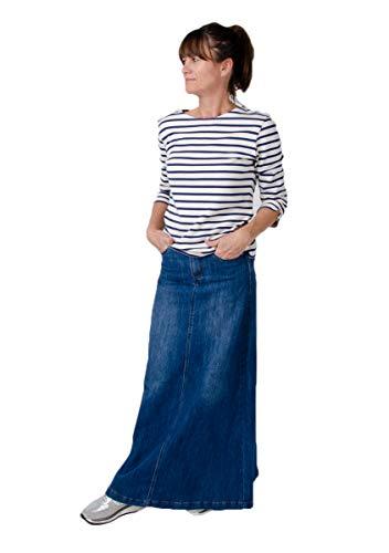 Langer Jeansrocke Stonewash blau Damen Denim Rock Andrea Jean Skirt (EU 46)
