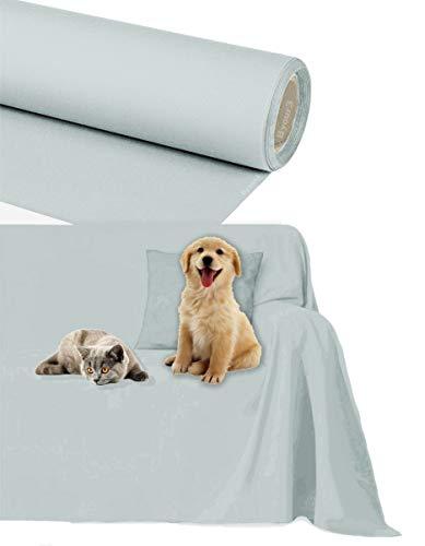 Byour3 Funda de sofá Impermeable - protección para Sofás por Mascotas Niños Protector hidrófugo en Algodon Antimanchas Antideslizante para Pelo Gatos Perros (Gris Hielo, 3/4 plazas 400x300cm)