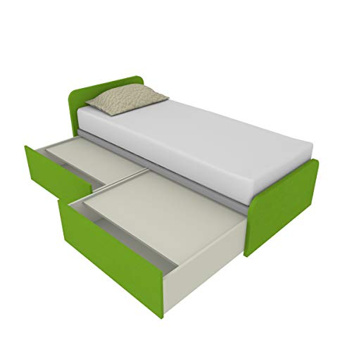 Schlafzimmer 964 C Einzelbett 80 x 190 cm mit zwei unabhängigen Schubladen, mit Rädern und mit Deckel, inklusive Lattenrost, Seite und Kopfteil, hergestellt in Italien