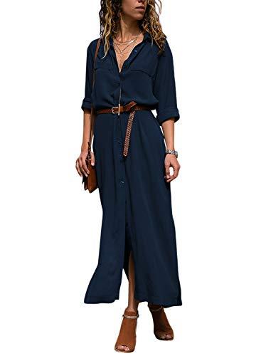 Happy Sailed Damen Langarm V-Ausschnitt Elegant Lang Blusenkleid Hemdkleid Shirt Kleid Oberteil Kleid Maxikleid mit Gürtel S-XL, Navy Blau, Medium (EU40-EU42)