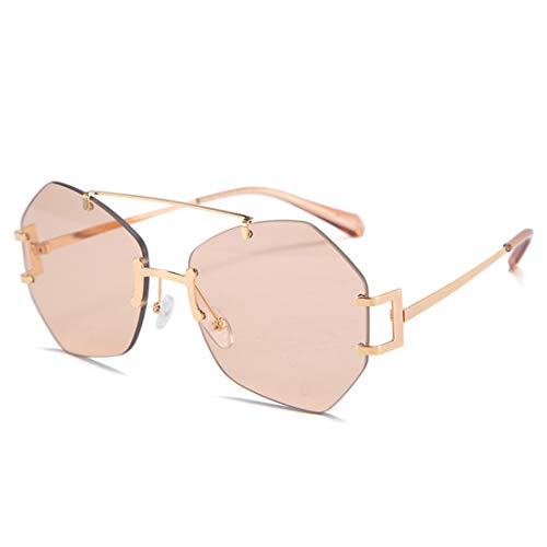 HFSKJ Gafas de Sol, Gafas de Sol sin Montura Irregulares, Gafas de Todo fósforo para Mujer, Gafas de Sol de Moda callejera para Adultos,B