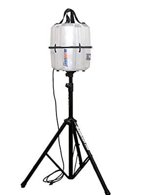 Portable LED Work Light 20,000 Lumens, Professional Lighting Dispersed in 360 Degrees, Weather Resistant Durable Indoor Outdoor Use with Telescoping Tripod Stand