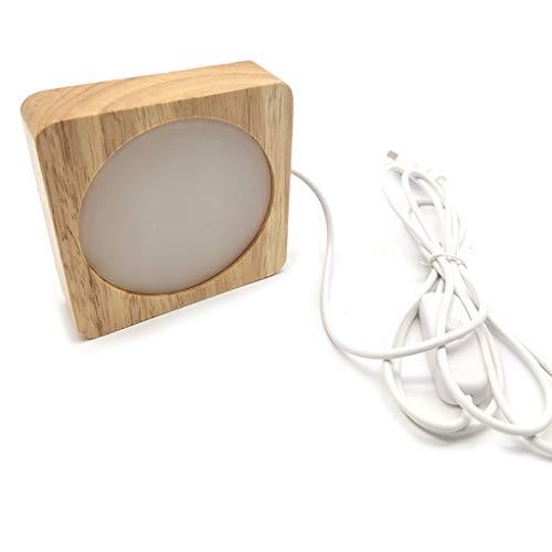 Lámpara de Mesa con luz de Noche LED 3D, Soporte de Base de Adornos de Resina de Cristal USB