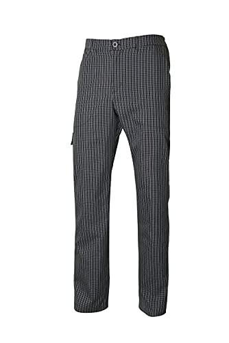 VELILLA 403008; pantalón de Cocina a Cuadros Multibolsillos; Color Negro a Cuadros; Talla 3XL