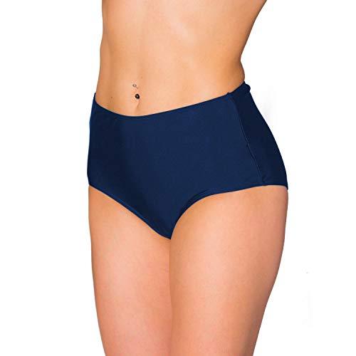 Aquarti Damen Bikinihose mit Hohem Bund, Farbe: Dunkelblau, Größe: 42