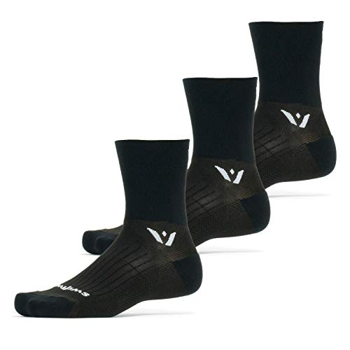Swiftwick - PERFORMANCE FOUR (3 Pairs) Trail Running & Cycling Socks, Mens & Womens (Black, Large)