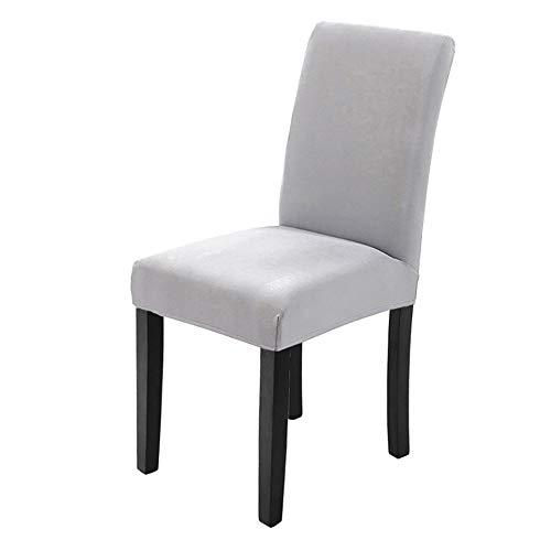 Veakii R Fundas para sillas Pack de 4 Fundas sillas Comedor, Lavable Comedor Asiento Cubre para el Comedor casero Modern Bouquet de la Boda, Hotel, Decor Restaurante(Gris Claro)