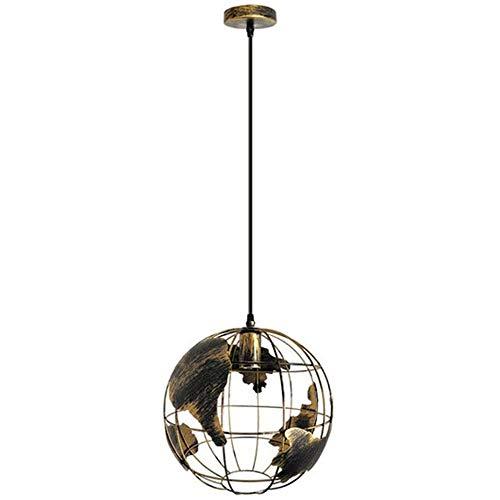 HJXDtech 20cm Globus-Weltkarte Hängeleuchte Industrial Retro Metall Lampenschirm Loft Bar Deckenleuchte Hängelampe für Küche Lounge Restaurants, E27 (Bronzerost)