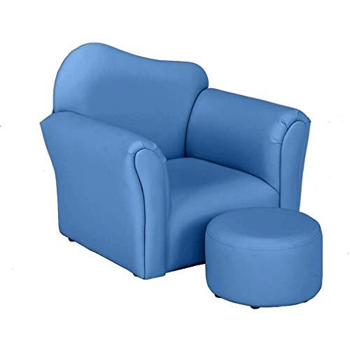 HQSB Sillón individual de piel de PVC para niños, sofá y sofá con relleno de esponja suave, ideal para regalo de niños y niñas, color azul