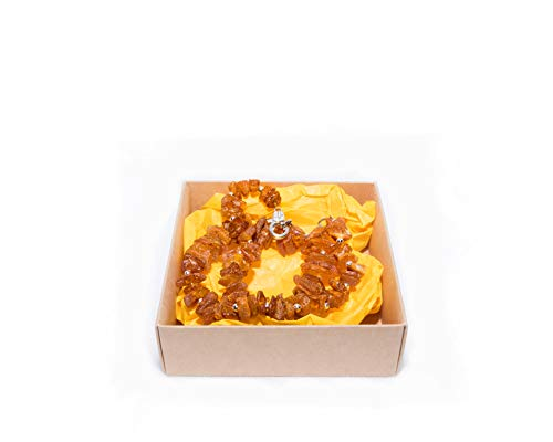 Dog & Cat Collar Collar from Raw Baltic Amber Stone   100% Natural & Handmade Collar   Pet Ticks & Flea Neck Collar with Decorative Chain Fixings   Standard Sizes - 40-42CM