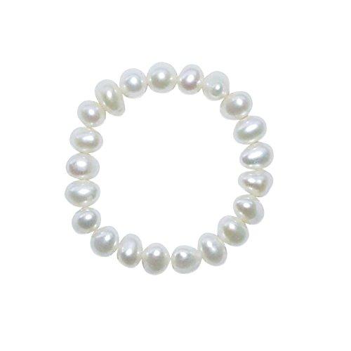 Ring Perle Süßwasser Perle Natur roh weiß One Size auf strapazierfähigem Gummi aufgezogen.(3954)