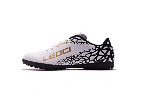 LEOCI Performance Turf Soccer Shoes - Men and Boy Soccer Shoes Indoor Soccer Cleat (6 D(M) US, White)