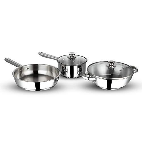 Vinod Stainless steel induction friendly Modena cookware set -3 pieces(Saucepan, Fry pan , Kadhai)