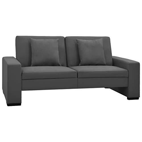 vidaXL Canapé-lit Canapé Convertible Sofa de Salon Meuble de Salon Sofa Convertible Meuble de Salle de Séjour Maison Intérieur Gris Similicuir