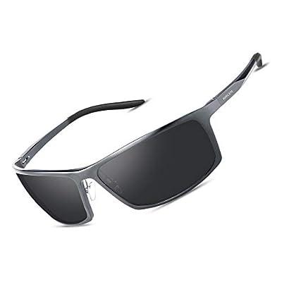 Bircen Polarized Sunglasses for Men Women UV Protection Driving Golf Fishing Sports Sunglasses (C-Gunmetal Frame Black Lens)
