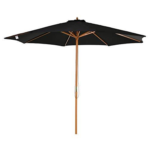 Outsunny Sombrilla Parasol Exterior de Madera para Jardín Playa Cafetería Piscina Regulable Altura Ajustable en 3 Niveles con Sistema de Polea Desmonta Fácil Ahorra Espacio 300x250cm Negro