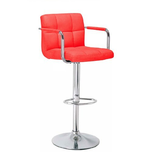 BARGAINS-GALORE® Brand New Breakfast BAR Stool Faux Leather Barstool Kitchen STOOLS Chrome Chair (RED)
