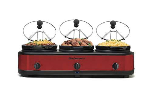 Elite Platinum EWMST Triple Slow Cooker Buffet Server, EWMST-325R, Red