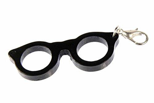 Miniblings Brille Charm Brillencharm Brillengestell Hipster Woody - Handmade Modeschmuck I Kettenanhänger versilbert - Bettelanhänger Bettelarmband - Anhänger für Armband