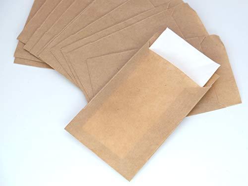 50 lágrimas de alegría bolsas planas kraft paier marrón 65 x 90 mm bolsas de regalo bolsas de papel para regalos de boda calendario de Adviento, regalos o sorpresas para llenar