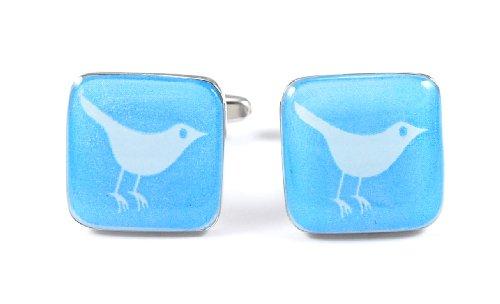 Gemelolandia manchetknopen Twitter vogel, vierkant, blauw