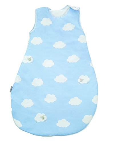 roba Schlafsack, 70cm, Babyschlafsack ganzjahres/ganzjährig, aus atmungsaktiver Baumwolle, Schlummersack unisex, Kollektion 'Kleine Wolke blau'
