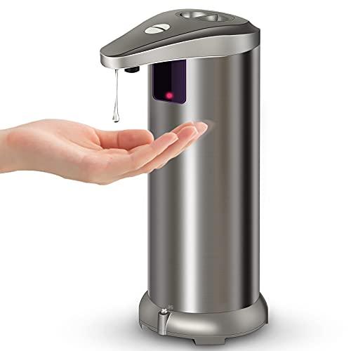 Dispenser di Sapone Automatico con Acciaio Inossidabile, 250ML Dispenser Automatico di Sapone Liquido a Infrarossi Touchless, Interruttore Regolabile, Base Impermeabile per Cucina Bagno e Hotel