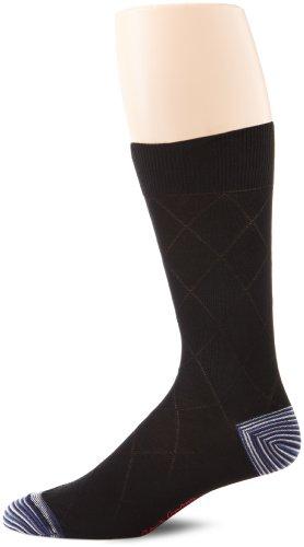 Robert Graham Men's Mikhail Sock, Black, Sock Size:10-13/Shoe Size: 6-12