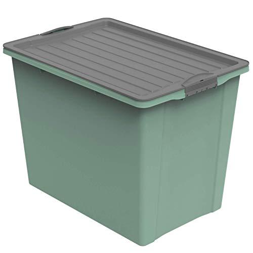 Rotho Compact Aufbewahrungsbox 70l mit Deckel und Rollen, Kunststoff (PP recycelt) BPA-frei, grün/anthrazit, A3/70l (57,0 x 39,5 x 43,5 cm)