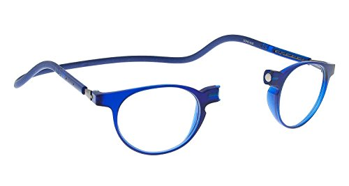SPORTS WORLD VISION Occhiali da lettura magnetici in stile Clic slastic (blu) Soho 010 Occhiali da vista rotondi unisex solidi e resistenti con custodia morbida, lenti antiriflesso e lati2,00