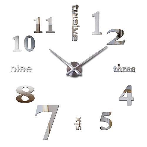 SDLWDQX Reloj de pared grande de cuarzo 3D para decoración del hogar, espejo acrílico, tamaño grande, diseño moderno, regalo para el hogar, plata, 37 pulgadas (3D)