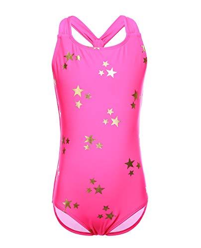 iDrawl Badeanzüge Rosa Stern Bademode One Piece Swimwear für Mädchen Größe L Schwimmanzug