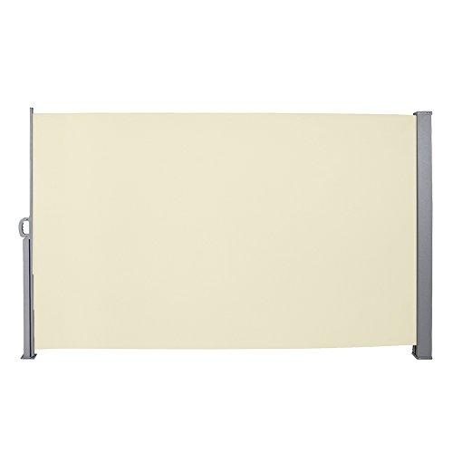 wolketon Seitenmarkise-160 x 300 cm Beige TÜV,geprüft UV,Reißfestigkeit,seitlicher Sichtschutz sichtschutz,für Balkon Terrasse ausziehbare markise