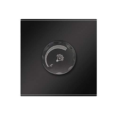 PUSH ON/OFF CON EL CONTROL ROTARIO Dimmer Interruptor de pared Blanco Negro Gris PC Panel Interruptor de ventilador 220V AV 50 / 60Hz Interruptor Luz Pared (Color : Black, Voltage : 220V)