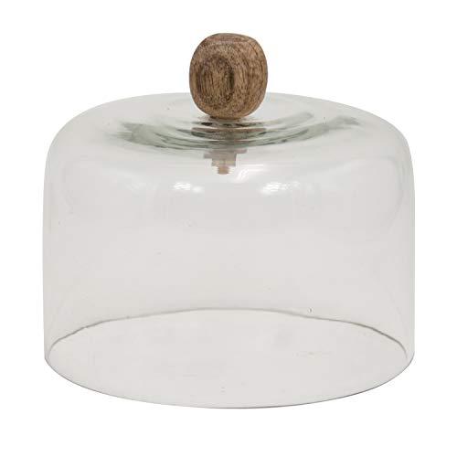 Fanal de Cristal con Bola en Madera Natural, Color Transparente. Medidas: 16 x 16 x 13 centímetros. Material: Cristal (Referencia: 1363400)