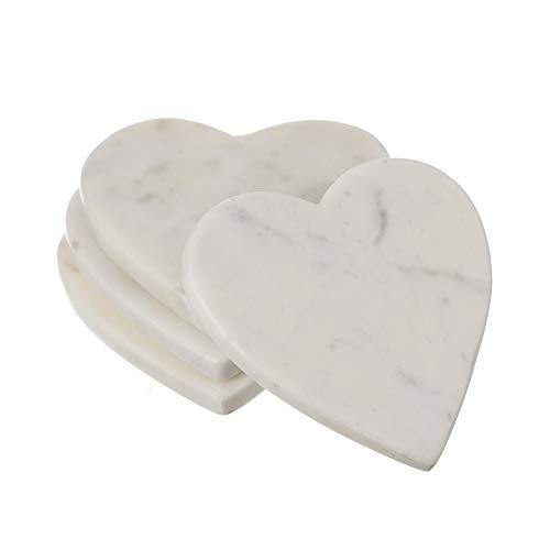 Posavasos hechos a mano con forma de corazón de ópalo blanco, 4 unidades de piedra de mármol para té, café, bebidas, perfecto para bodas, aniversarios, regalos para parejas
