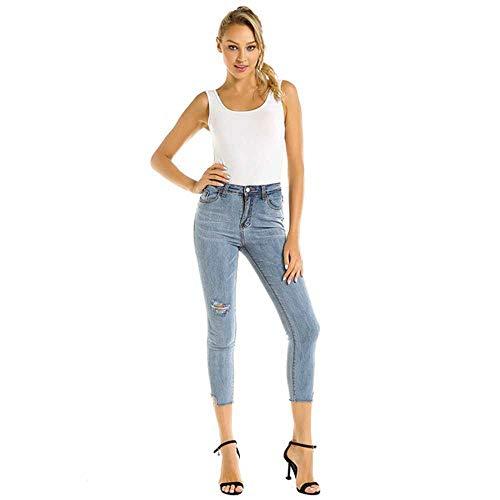 NOBRAND Mujeres Juniors Stretch Luscious Curvy Ripped Distressed Skinny Jeans Pantalones de Mezclilla Lavados con Dobladillo de Cintura Media para Mujer