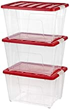 IRIS 54 qt. Holiday Storage Totes in Red (Set of 3)